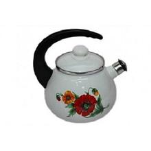 Чайник Epos со свистком 2,5л емаль, Чайник с ручкой и крышкой, Чайник со свистком и рисунками емалевой стали