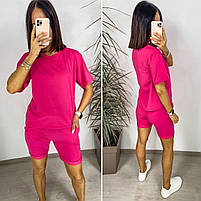 Яскравий жіночий неоновий спортивний костюм з шортами (Норма), фото 2
