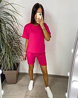 Яскравий жіночий неоновий спортивний костюм з шортами (Норма), фото 3