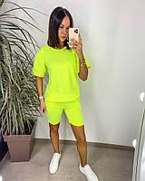 Яскравий жіночий неоновий спортивний костюм з шортами (Норма), фото 5