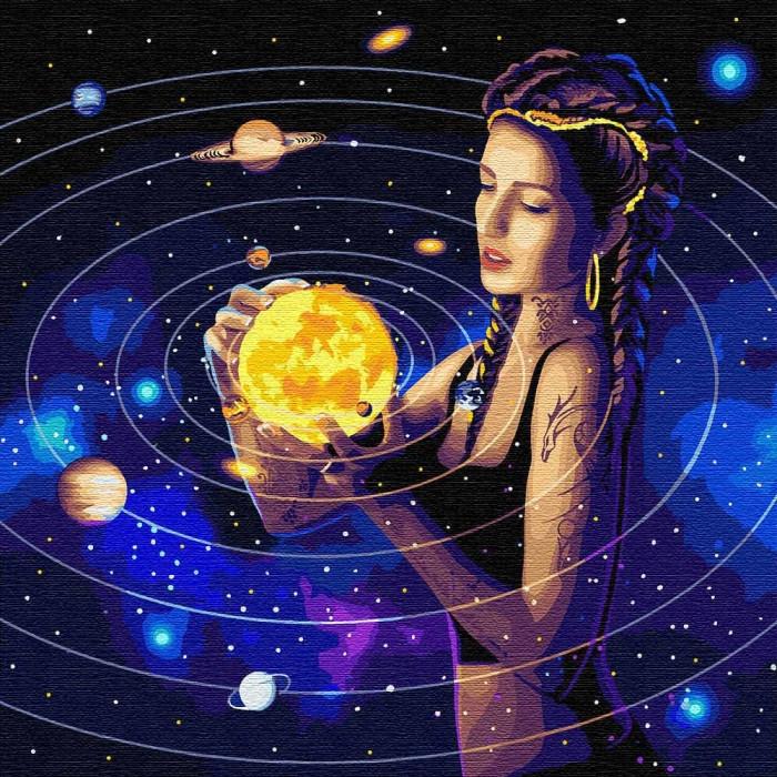 """Картина за номерами. Зодіак """"Підкоряючи всесвіт з фарбами металік"""" 50*50см KHO9539"""