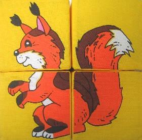"""Набір м'яких кубиків 4шт """"Дикі тварини"""" 126/1"""