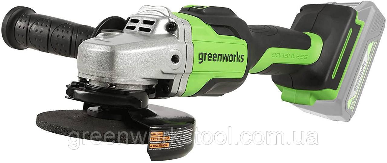 Бесщёточная  аккумуляторная болгарка (углошлифовальная машина) Greenworks GD24AG без АКБ и ЗУ