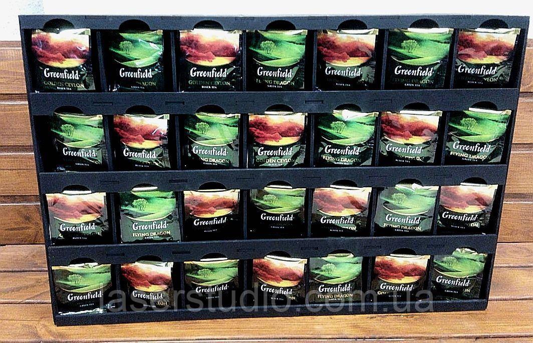 Деревянный органайзер для хранения чая 53,5*34*12,5 см., на 28 секций Деревянная Витрина на для чая.