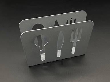 Підставка для серветок з металу. Колір сріблястий. 10х12см