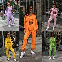 Яркий женский спортивный костюм-тройка в расцветках (Норма), фото 4