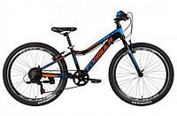 """Подростковый велосипед FORMULA AL ACID VBR 1.0  24""""(черно-оранжевый с син.)"""