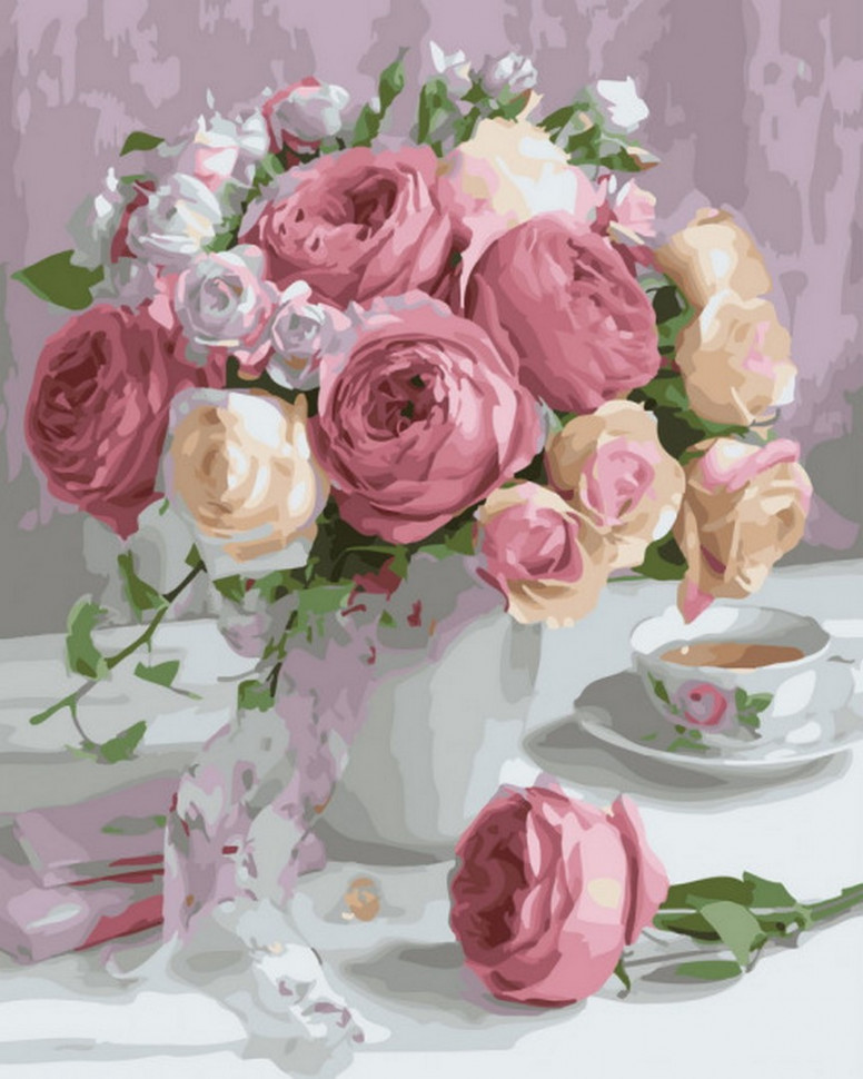 """Картина за номерами. Rainbow Art """"Ніжний букет троянд"""" GX22794-RA"""