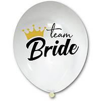 "Латексна кулька 12"" прозора з малюнком ""Team Bride"" (ТУРЕЧЧИНА)"