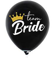 """Латексна кулька 12"""" чорна з білим малюнком """"Team Bride"""" (ТУРЕЧЧИНА)"""