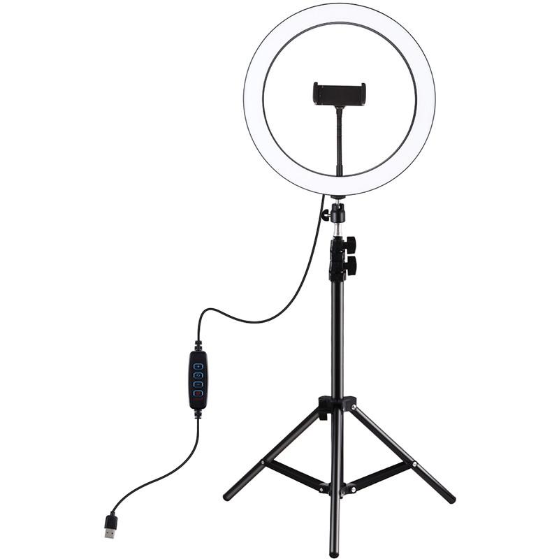 Набор блогера Кольцевая USB LED лампа Puluz PKT3056B + штатив 1.1 м / в магазине