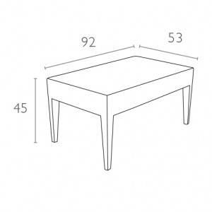 Столик садовый Miami Lounge Table Siesta, пластиковый, белый, фото 2