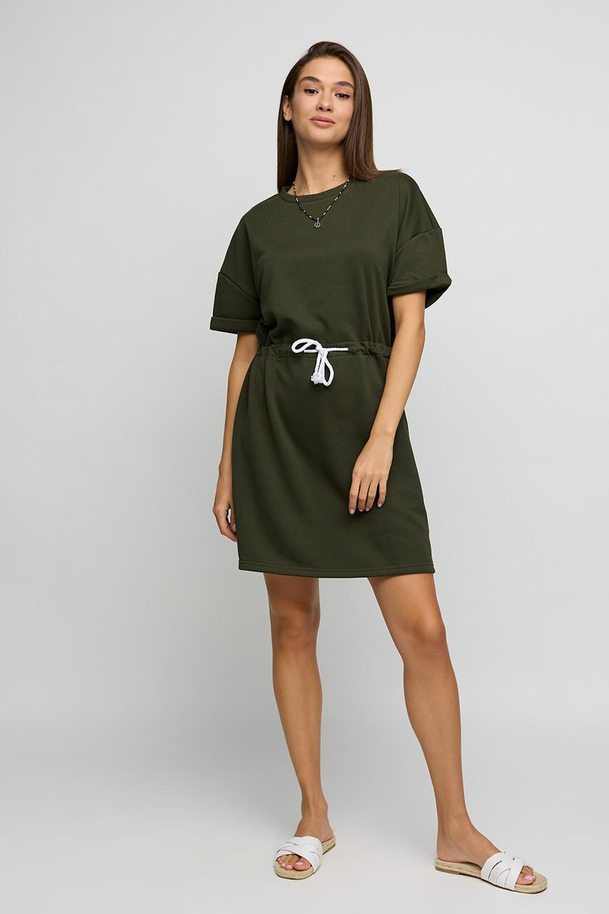 Платье цвета хаки летнее трикотажное