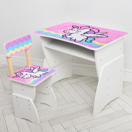 Парта 905-65 (1шт) ш75,5-г51,5-в61,5см,стульчик ш30-г30-в67см,рег.высота-3полож, единорог радуга
