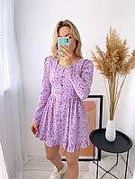 Женское нежное платье из софта в цветочный принт (Норма), фото 4