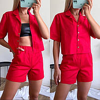 Женский стильный костюм из коттона с рубашкой и шортами (Норма), фото 4