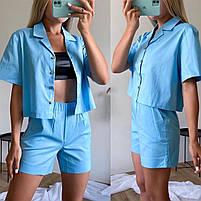 Женский стильный костюм из коттона с рубашкой и шортами (Норма), фото 5