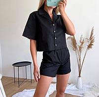 Женский стильный костюм из коттона с рубашкой и шортами (Норма), фото 9
