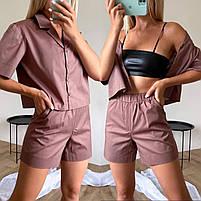 Женский стильный костюм из коттона с рубашкой и шортами (Норма), фото 10