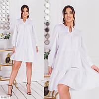 Платье свободного кроя до середины бедра на лето коттон х/б большие размеры батал  р-ры  48-54 арт. 491