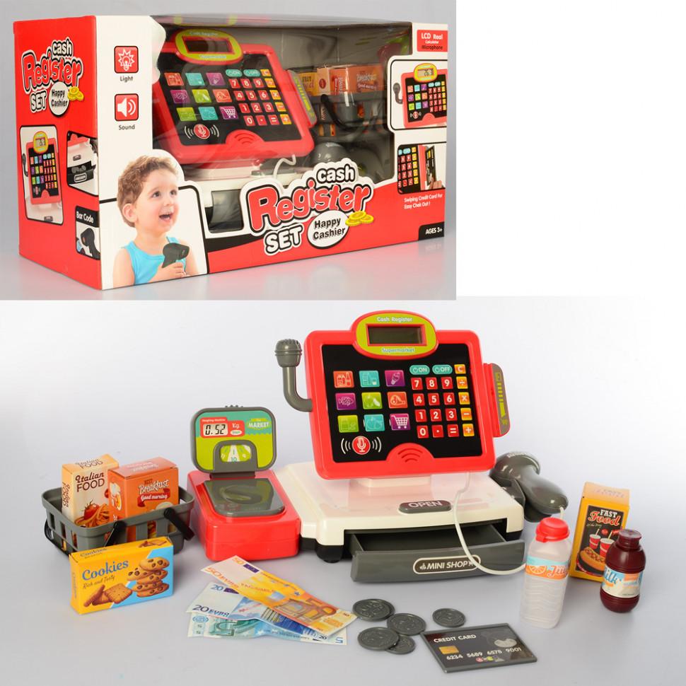 Игровой кассовый аппарат с микрофоном 35578B продукты в наборе