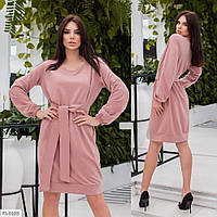 Стильное женское платье до колена свободное под пояс с длинным рукавом большие размеры р-ры 48-54 арт. 493