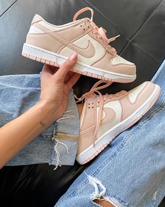 Женские кроссовки Nike Dunk Low Retro White Pink, фото 2