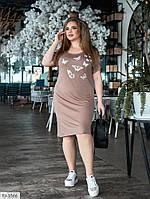 Красиве легке плаття приталене по коліно з турецької віскози великі розміри батал р-ри 48-54 арт. 2130
