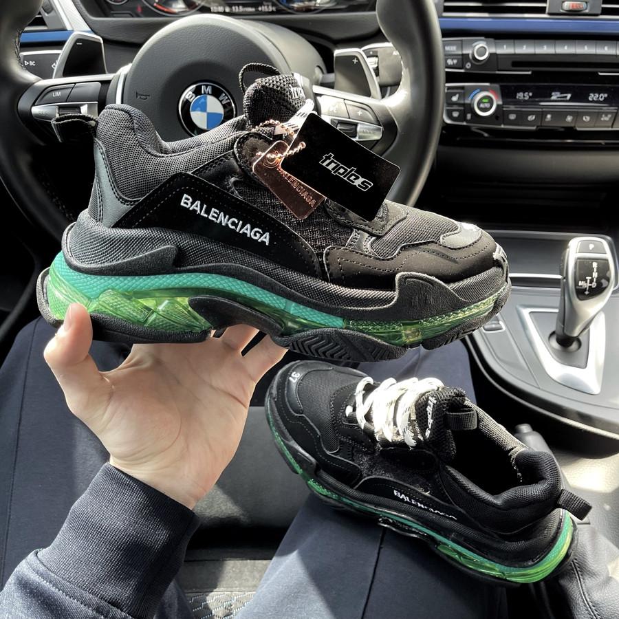 Женские кроссовки Balenciaga Triple S Black Green 37 (23.5см.)
