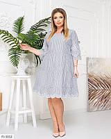 Легкое нарядное платье по колено трапеция а-силуэта свободное большие размеры 50-56 арт.  д41554