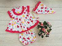 """Дитяче плаття """"Ясочка-мороженко""""(+косинка і трусики) ріст 74-80 і 86-92 см"""