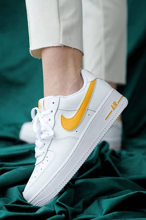 Nike Air Force 1 White/Yellow, фото 2