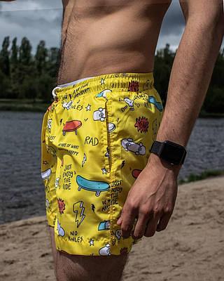 Плавки мужские летние желтого цвета Шорты для плаванья с рисунком