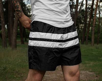 Плавки мужские летние черного цвета Шорты для плаванья с полосками