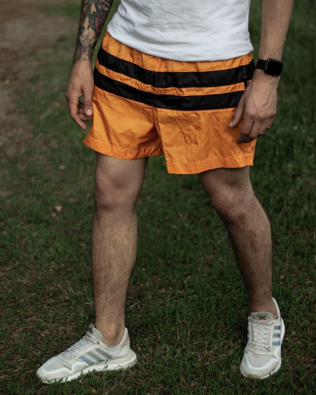 Плавки мужские летние оранжевого цвета Шорты для плаванья с полосками
