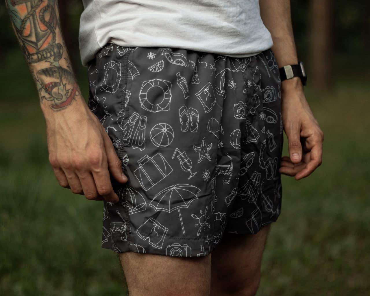 Плавки мужские летние серого цвета Шорты для плаванья с рисунком