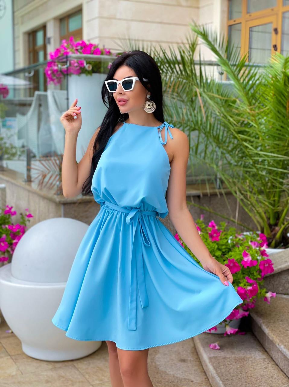 Сукня жіноча літня завдовжки вище колін на зав'язках