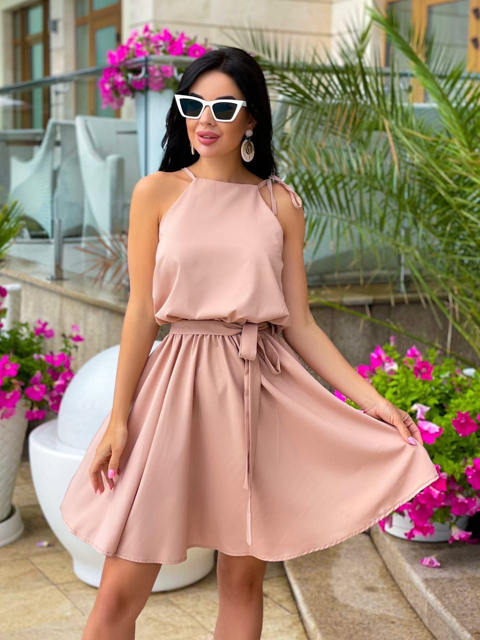 Літнє стильне плаття, талія на резинці і з поясом