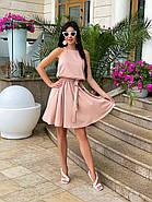 Літнє стильне плаття, талія на резинці і з поясом, фото 2