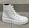 Ботинки женские белые кожаные на низком ходу
