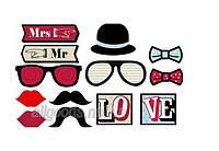 Фотобутафория для фотосессии: маски, усы, очки на палочках