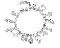 """Женский браслет """"Ключик"""" на руку с подвесками сердце колечко крестик, фото 1"""
