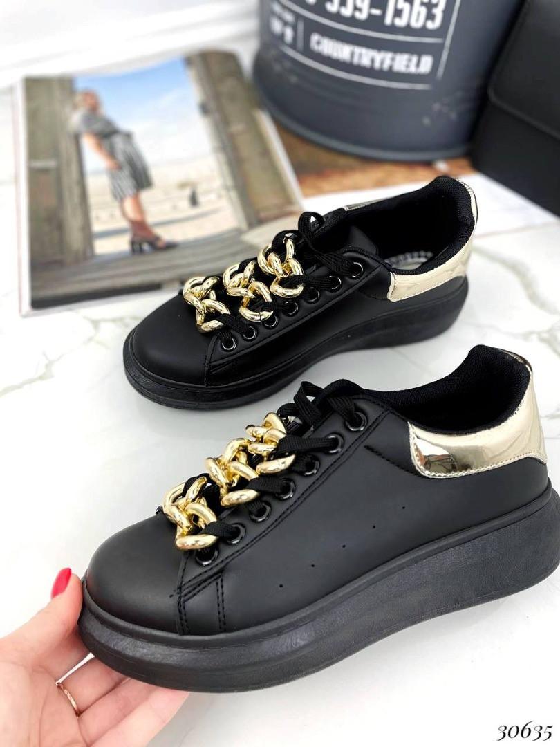Кеды на дутой подошве шнурки цепь Цвет: чёрный