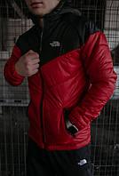 Куртка мужская осенняя / весенняя The North Face красная черная утепленная ТНФ TNF Демисезонная ветровка