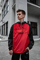 Анорак Nike House Мужской Черный - Красный найк ветровка осенняя весенняя летняя спортивная