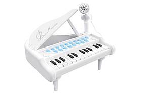 """Дитяче піаніно синтезатор Baoli """"Маленький музикант"""" з мікрофоном 24 клавіші (білий)"""