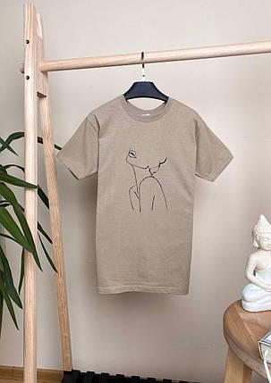Стильна жіноча футболка з принтом. Футболка жіноча бежевого кольору., фото 2