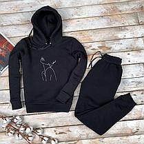 Женский спортивный трикотажный костюм  черного цвета, фото 2