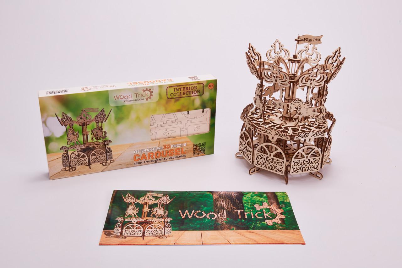 Дерев'яний Конструктор Карусель 3D. Wood trick пазл. 100% ГАРАНТІЯ ЯКОСТІ (Опт,дропшиппинг)