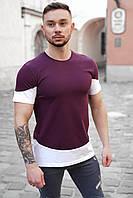Мужская футболка Бордовая с белым/ Есть 5 цветов
